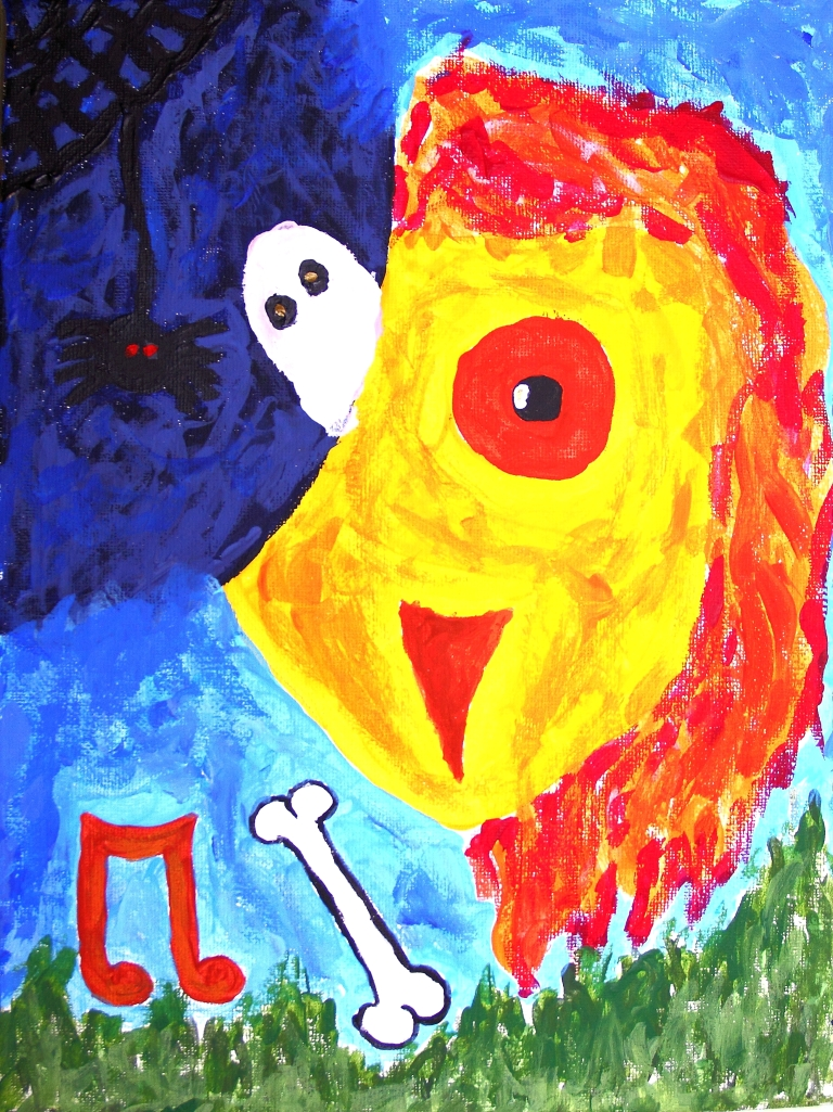 In my portrait I have tried to include a lot of my strengths, but also my weakness. I did this by making a lion and owl combination animal, this shows that I had to be strong like a lion in the tough times but wise like an owl during the times when I didn't know what to do. I put a spider and a ghost in the corner of my design because they are my main two fears.  T, 13 years old