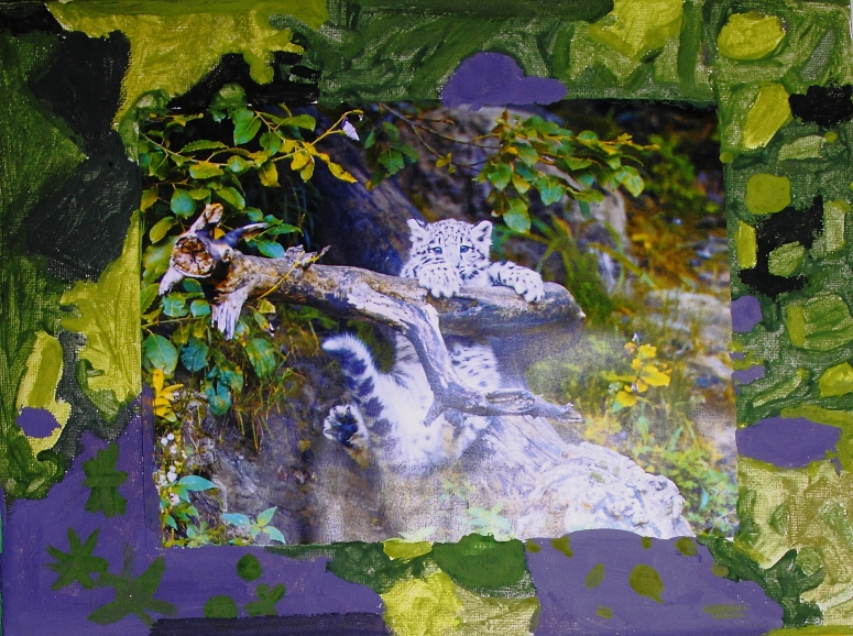 My personatity portrait shows a snow leopard. I chose a snow leopard because if is my favourite animal because it is cute. It is me because it is friendly, playful and shy. I painted the borders in my favourite colours they are purple, green, yellow and black. Green and yellow are friendly and playful colours and they reflect me. Purple and black are just colours that I found appealing to me. D, age 12