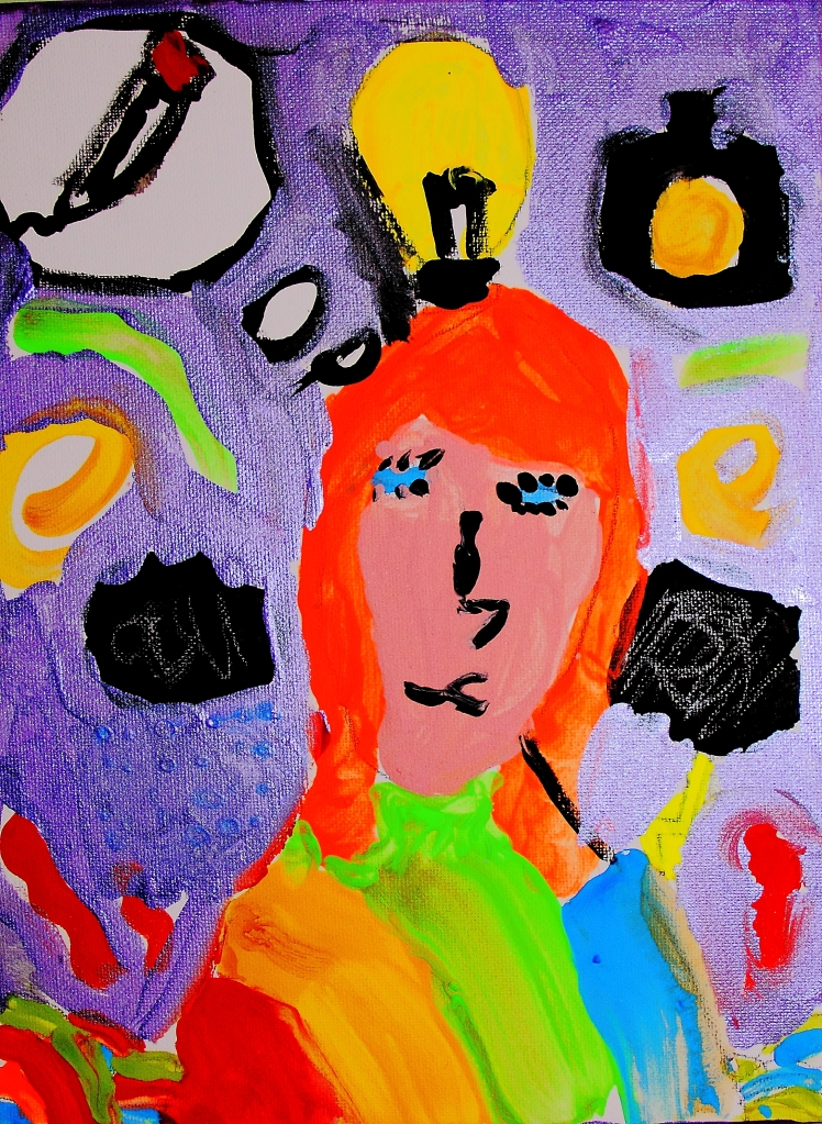 My portrait of me My portrait was just a Wight canvas now it is a work of art .lt shows me thinking with a light bulb over my head. It is very bright with neon colours it has squiggles and patents my hair was bright orange with curls at the end because that is how I have always wanted to have it I like photos and that is why I have a camera I have a pencil because I love art I love my portrait because it is very ... me. By B