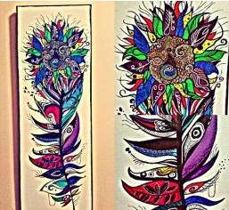 Funky Peacock Sunflower Feather finished today by Kodie 2014/15 #acrylic #funkyfeather #peacocksunflower #artsaveslivesinternational #feather #creative #peacock #sunflower