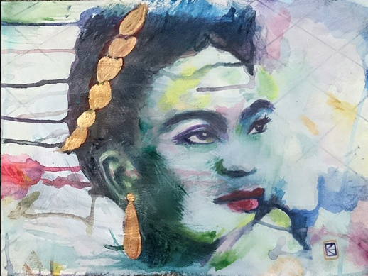 Frida Kahlo portrait 2 in progress... by Kara Healey