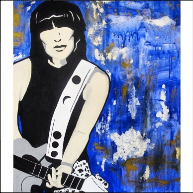 """I'm joining @artsaveslivesint in their """"Celebration of Women Month"""" ✨🙌💫 This is Chrissie Hynde, lead singer of #thepretenders who's an inspiration in the fight against female stereotypes. Do check out the other beautiful art pieces for ASLI's month-long dedication to women, at #artsaveslivesinternational. #instaart #acrylic #paint #painting #artwork #ellephantart"""