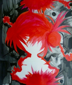 Blossom - by Nell-Lynn Perera acrylic, chinese ink