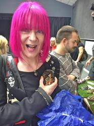 Artist Mandy Webb buying something from one of our art stalls Photography By Lisa Reeve